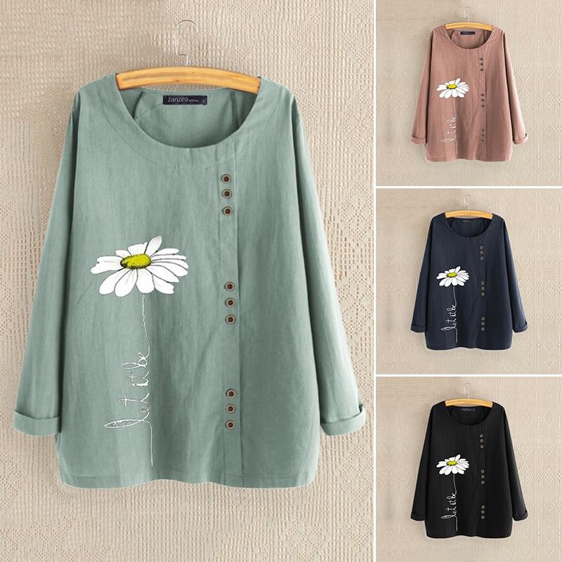 2020 Autumn Women's Printed Blouse Fashion Daisy Blouse Casual Long Sleeve Shirts Female Blusas ZANZEA Oversized Tunic Chemise