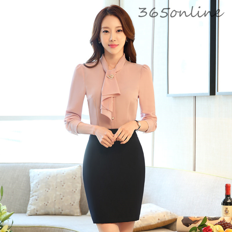 Elegant Pink Formal Women Professional Business Work Wear Suits With 2 Piece Tops And Skirt Ladies Office Skirt Suits Outfits