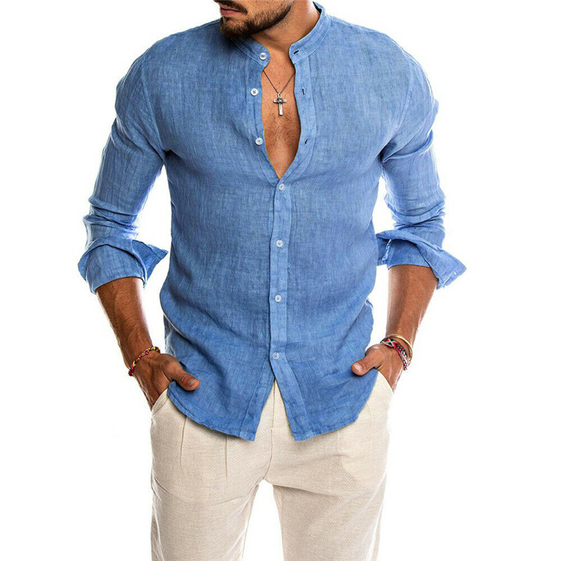 New Men Shirt Long Sleeve Solid Cotton Casual Shirts Shirt V-Neck Cotton Chinese Style Summer Top Slim Fit Long Sleeve Shirts