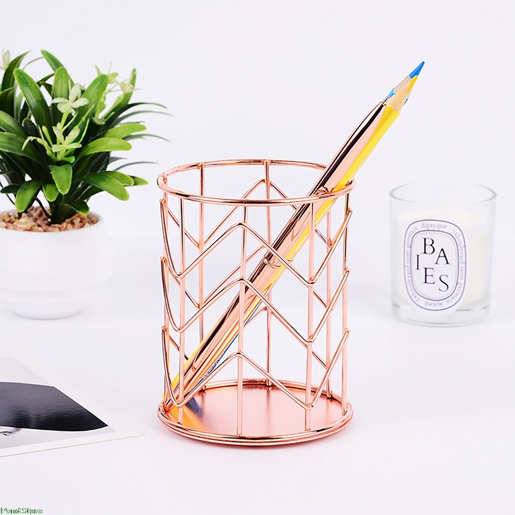 Pencil Holder Round Iron Mesh Pen Cup Stationery Organizer Makeup Brush Holder For Office Home School Desk Accessories in Pen Holders from Office School Supplies