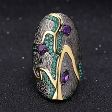 Female alloy  purple crystal ring wedding anniversary gift engagement bride jewelry