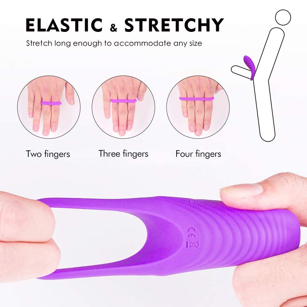 SEAFELIZ Elastic & Stretchy Vibrating Cock Ring with 9 Vibration Modes - Silicone Waterproof Rechargeable Powerful Vibration, USB Rechargeable Penis Ring Vibrator, Adult Sex Toy for Couples