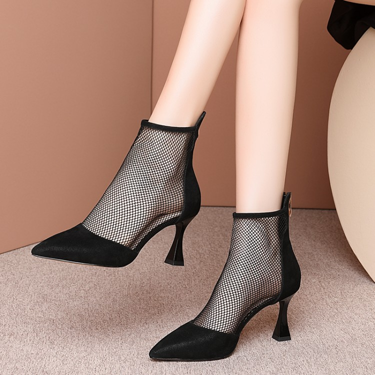 MLJUESE 2020 women ankle boots sheepskin +net pointed toe zippers summer boots cut-outs high heels women boots party dress