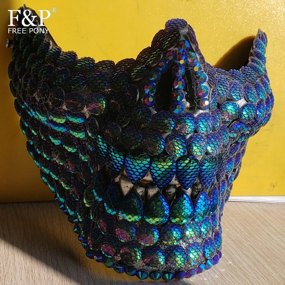 Brûlant homme Festival Steampunk irisé sirène bijoux crâne demi visage masque glisser reine Halloween déguisement Rave accessoires