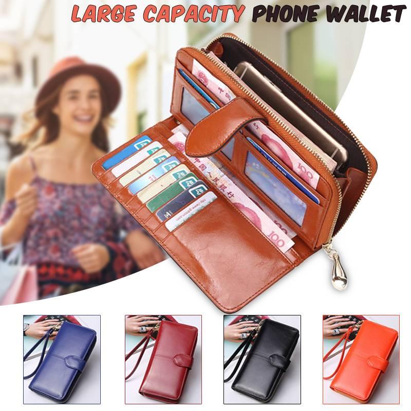 Women Long Wallets Fashion PU Leather Zipper Clutch Lady Handbags Coin Purse Money Pocket Brown Black Phone Bag