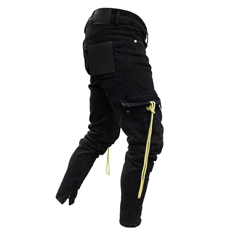 PUI men TIUA 2019 Осенние Новые мужские джинсы, облегающие джинсы, велосипедист-гонщик, модные хип-хоп обтягивающие джинсы, Мужские одноцветные джинсы