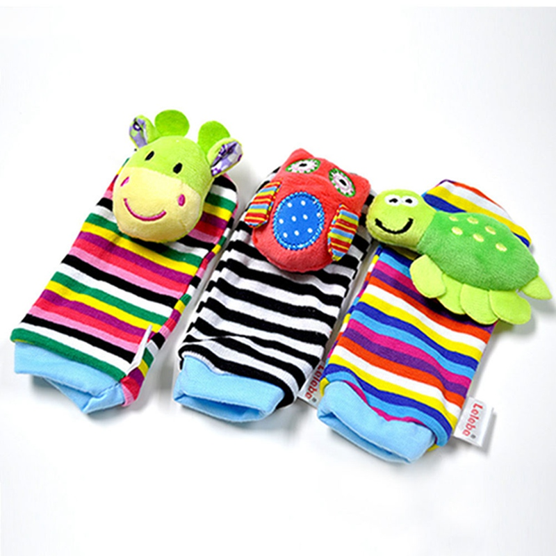 Infant Baby Kids <font><b>Socks</b></font> Rattle Toys Cute Cartoon <font><b>Animals</b></font> Plush Foot <font><b>Socks</b></font> Rattles For 0~24 Months image