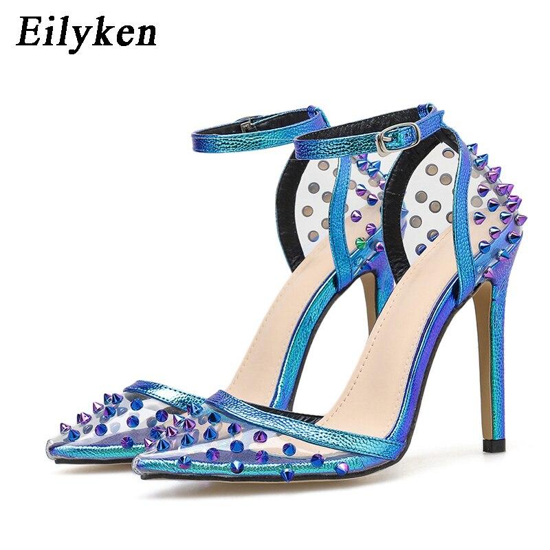 EilyKen Elegant Blue High Heels Women Pumps Pointed Toe Wedding Shoes Buckle Strap Party Rivet Pumps Shoes Women