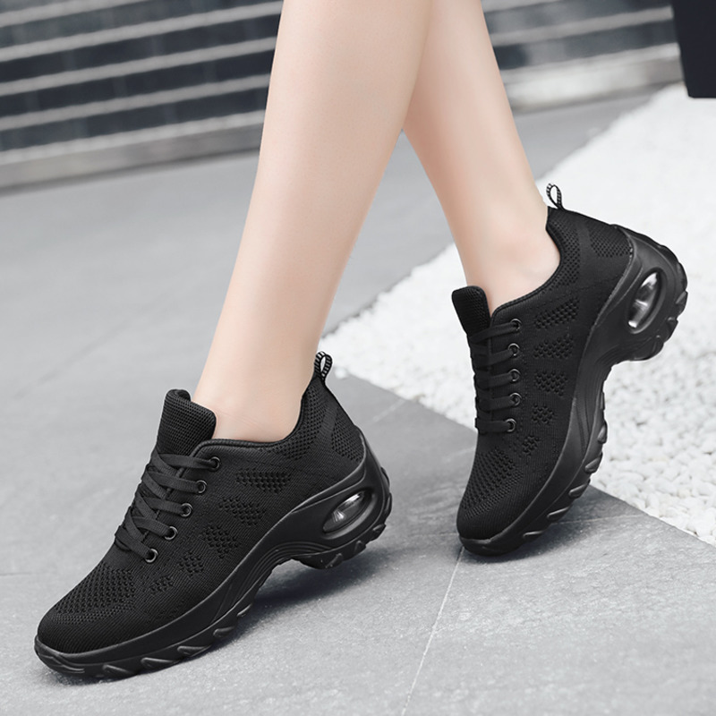 Woman Tennis Shoes Breathable Air Cushion Fashion Sneakers Comfort Height Increasing Lace-up Female Outdoor White Gym Footwear