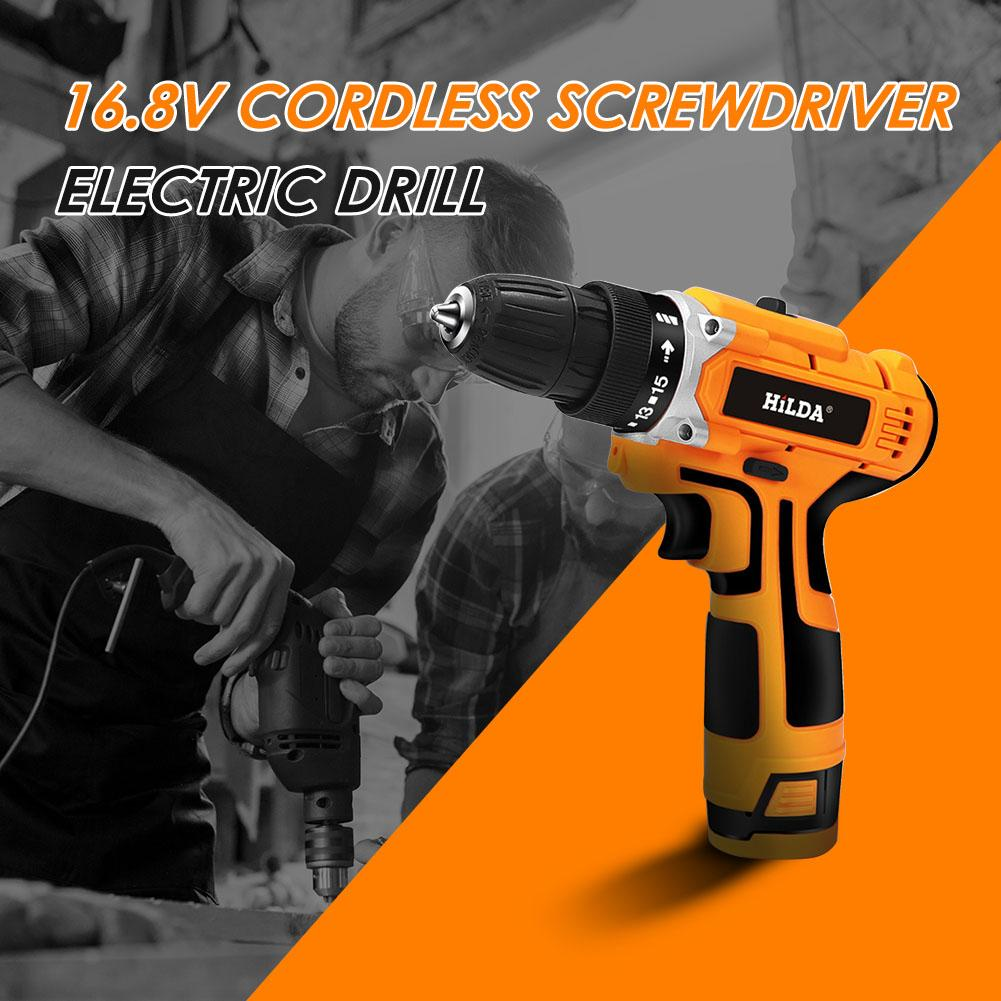 Hilda 16.8V Lithium Strong Torque Electric Hand Drill Machine Cordless Household Charging Screwdriver Wireless Power Tool