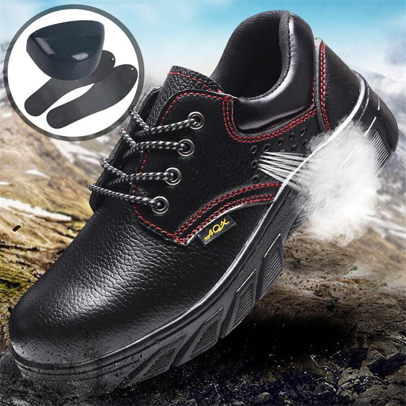 Summer Leather Steel Toe Work Shoes Men Puncture Proof Waterproof Safety Shoes Man Breathable Light Industrial Casual Shoes Male image