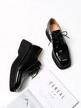 Mordoan sapatos de plataforma feminina couro de patente couro de bezerro genuíno laço-up praça toe brogue sapatos planos senhoras cunha sapatos