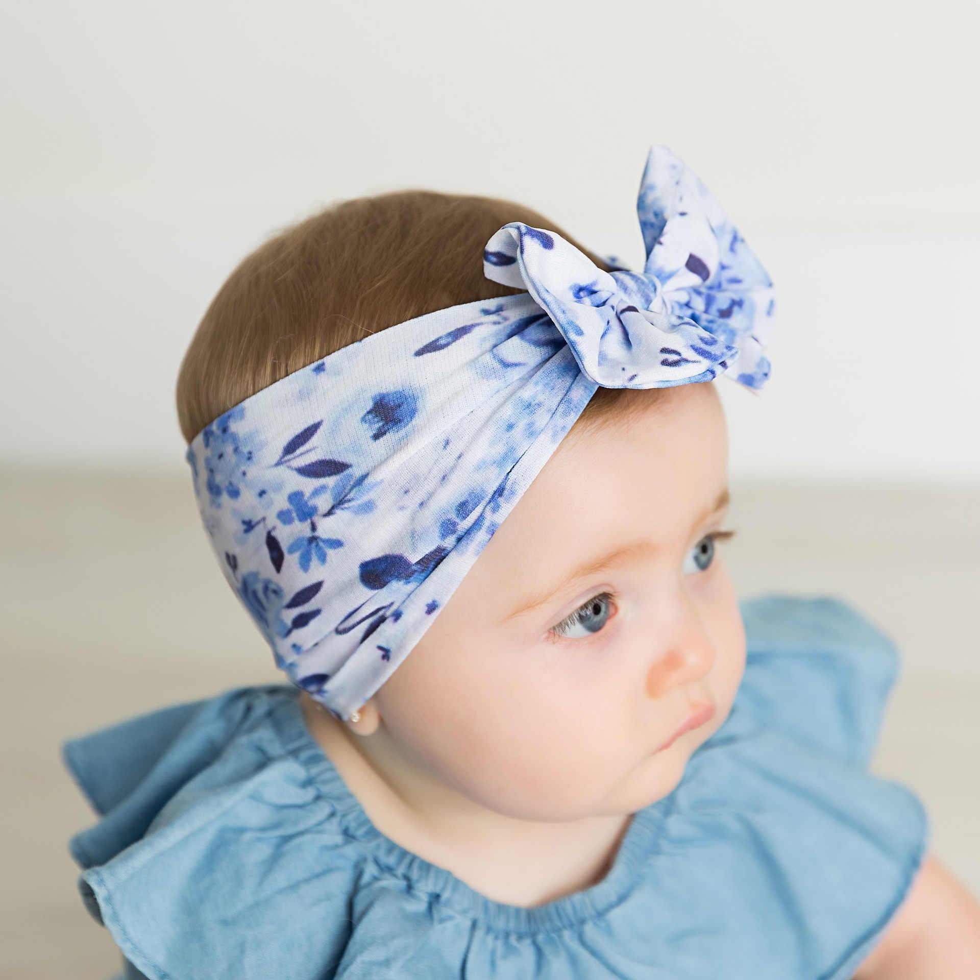 Nieuwe Baby Bloem Fruit Gedrukt Hoofdband voor Meisjes Kids Zachte Elastische Nylon Haarband Kids Hair Bows Haarbanden Hoofd Wraps Accessoires