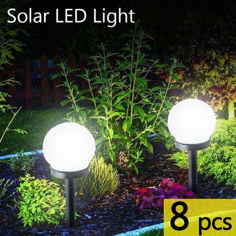 8 pcs lote led solar luz do jardim ao ar livre gramado a prova dwaterproof