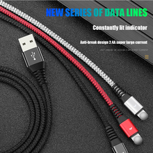 Micro USB Type-C Cable For Apple iPhone LED light Data Type c cable Aluminum alloy Charging Mobile Phone Cables