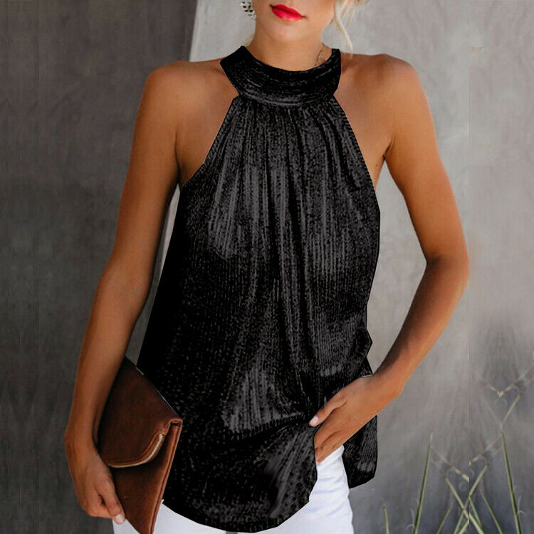 Fashion Womens Halter Neck Tank Tops Ladies Summer Casual Sleeveless Shirt Blouse Vest Sling Sequined Zipper Formal Clothes(China)