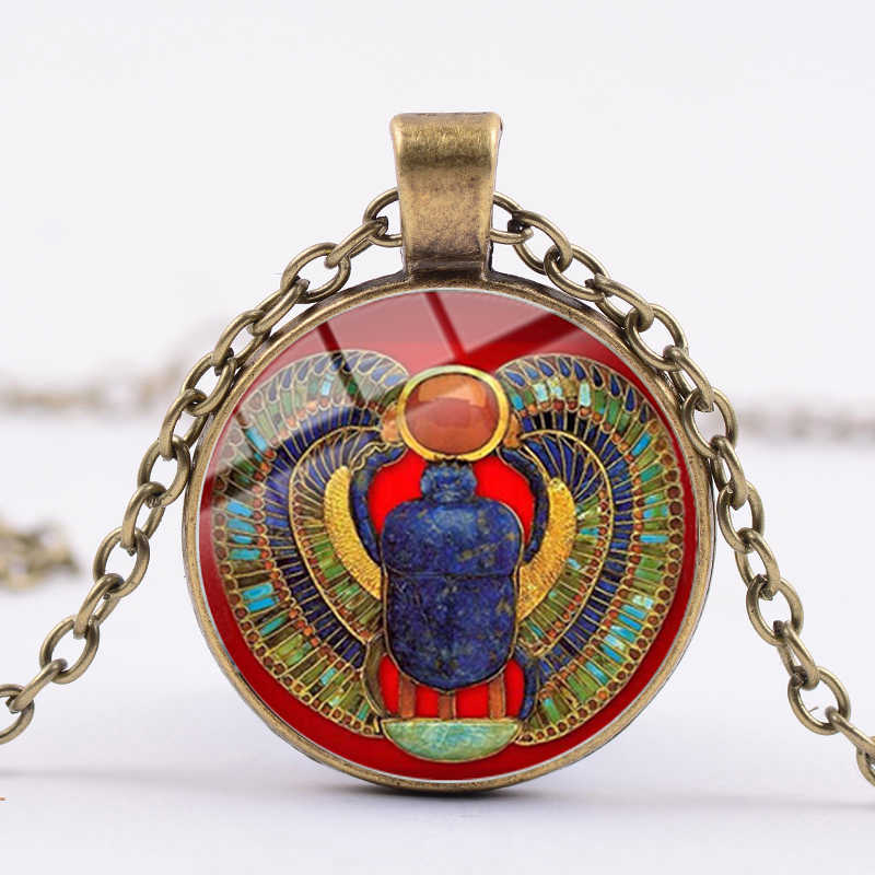 Songda Klasik Egyptian Scarab Jimat Kalung Mesir Kuno Hewan Kumbang Seni Totem Liontin Rantai Panjang Kalung Unisex Perhiasan