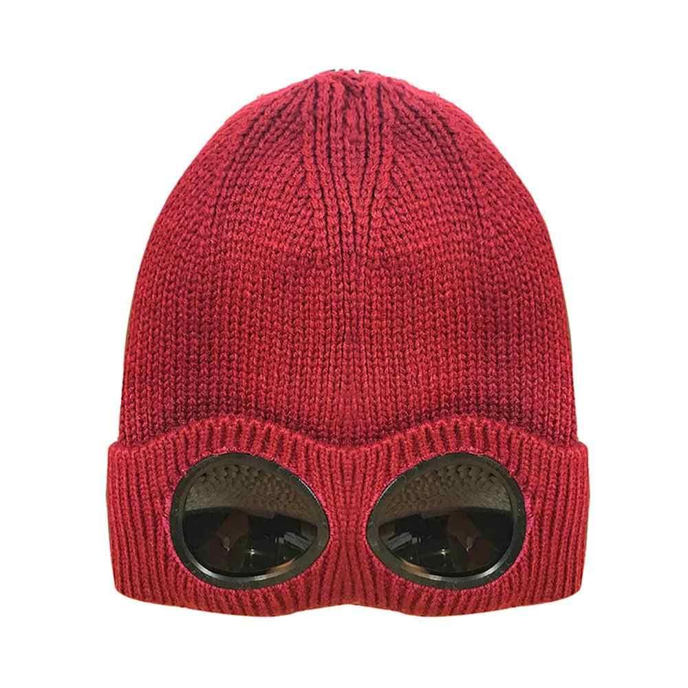 Unisex Wol Rajutan Kacamata Beanie, rekreasi Termal Lembut Hangat Musim Dingin Musim Gugur Topi Olahraga Topi Panas Penjaga Telinga Salju Dingin Pelindung