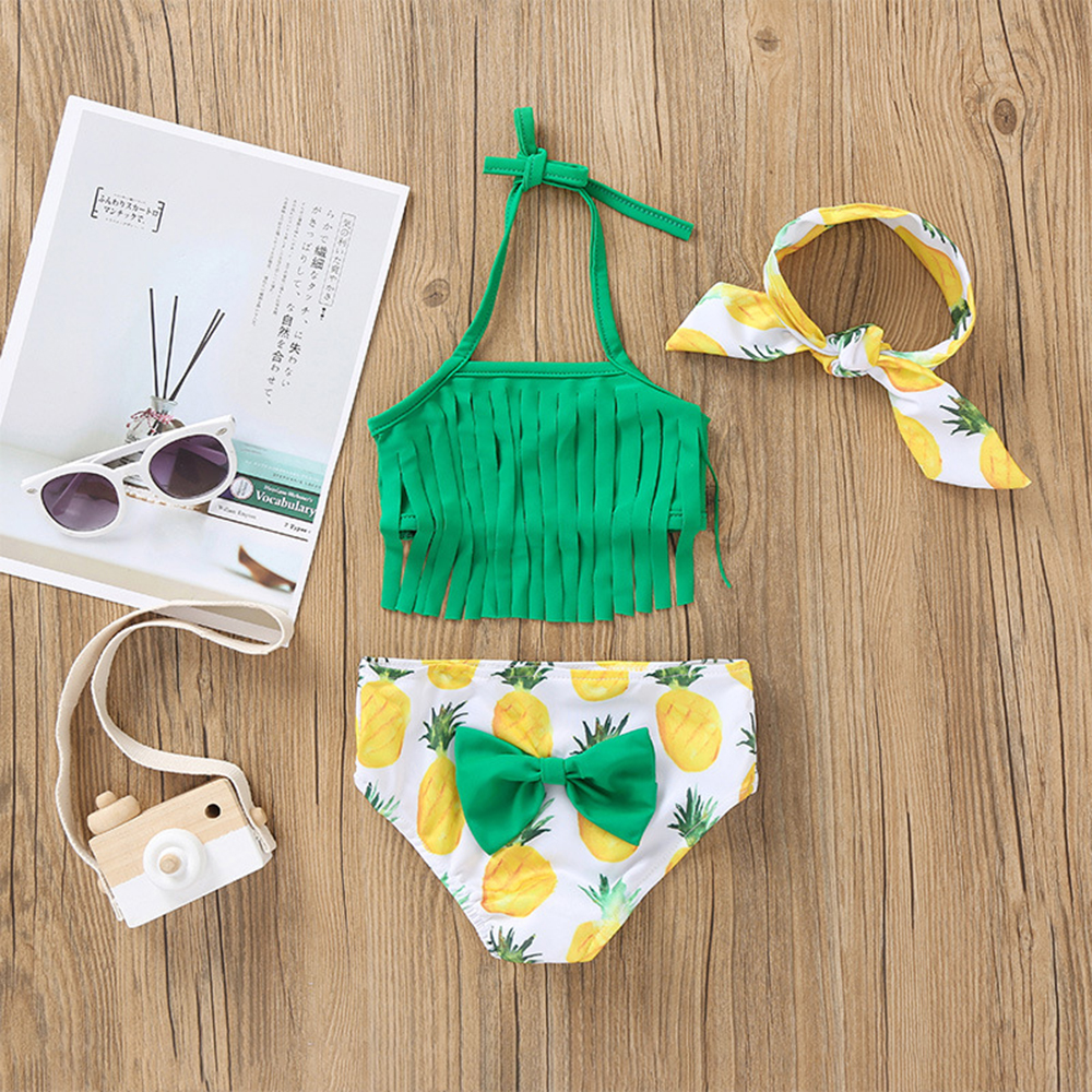 Children 3PC Swimwear Girls Bikini Set 2020 Halterneck Swimsuit with Ruffles Flowers Swimsuit With Headband Cute Bikini