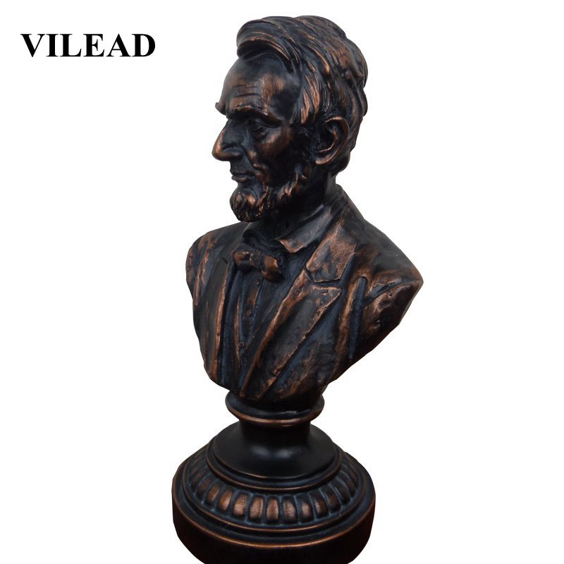 VILEAD 28cm Vintage Abraham Lincoln-President Statue Home Office Decoration Living Room