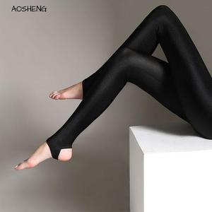 Image 1 - S 3XL Size Women Shiny Black Legging Autumn Ladies Push Up Slim Leggings High Waist Stretchy Soft  Large Size Women Legging Y077