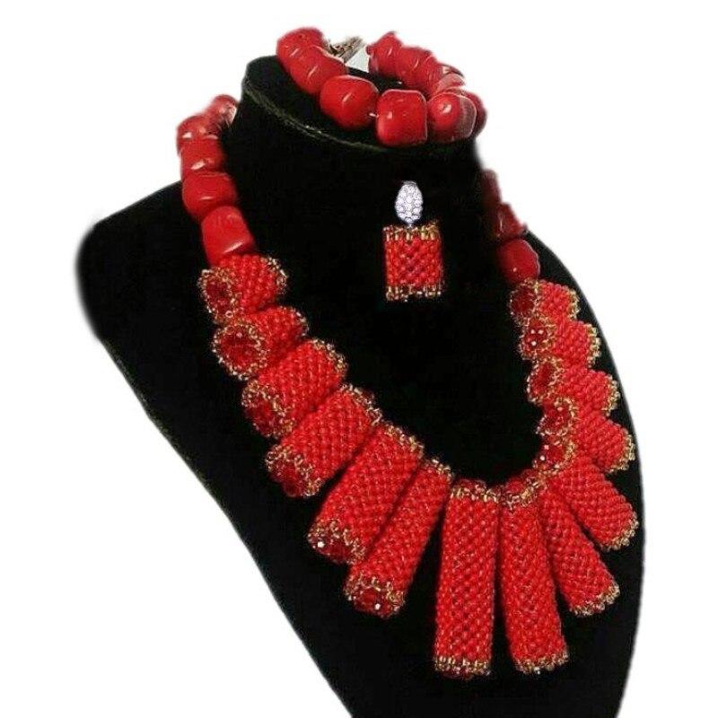 Дудо Свадебные ювелирные изделия набор оригинальный Коралловые бусы + ожерелье, украшенное кристаллами комплект оранжевого цвета роскошны