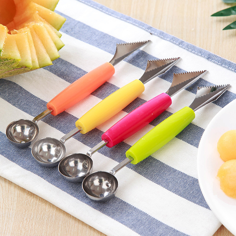 For Kitchen Stainless Double-end Melon Ice Cream Baller Scoop Fruit Spoon ^P