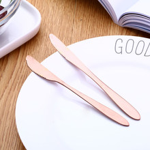 1pc Colourful Style Dinner Knives Home Tableware Dining Knife Beef Steak Cutter Tableware Meat Steak Knife Custom logo(China)