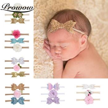 Prowow 3pcs/set New Sequined Bow Flower Baby Headband Newborn Hairbands Girls Headdress Set Toddler Hair Band