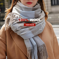 100% Wool Scarf For Women Brand 2019 Thicken Warm Shawls and Wraps Checkered Pashmina Winter Wool Scarves Echarpe For Ladies