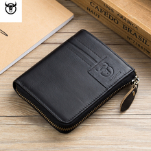 2018 New Men Wallet Genuine Leather Card Holder Small Vintage Zipper&Hasp Wallet Luxury cow leather Man Purse Brand