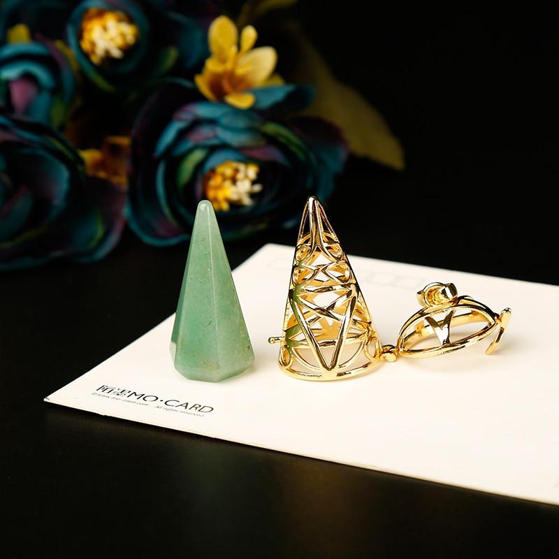 1PC golden Stylish natural stones and crystal minerals pendulum metal cone pyramid pendulum home decoration aura jewelry