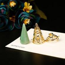 Péndulo dorado con estilo para decoración del hogar, piedras naturales y minerales de cristal, Péndulo de pirámide de Cono de metal, joyería aura, 1 unidad