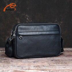 Nupugoo Casual Mannen Schoudertas Echt Leer Klassieke Messenger Bag Eenvoudige Crossbody Hoge Kwaliteit Leer Voor 9.7 Inch Ipad