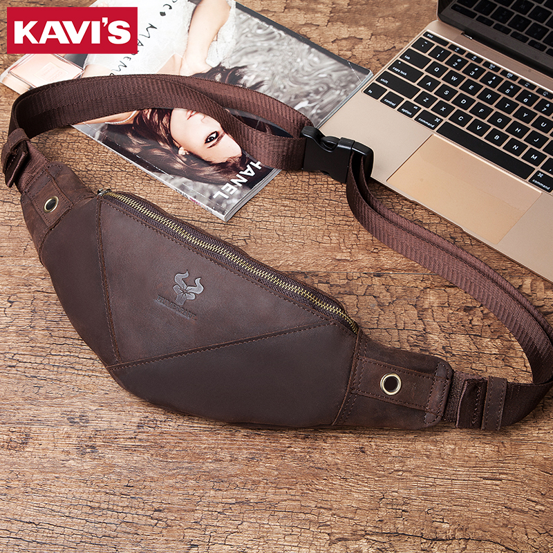 KAVIS 100% Genuine Leather Men Bag Belt Waist Bag Male Packs Crossbody Chest Fanny Pack Holder Pouch Purse Messenger Fashion