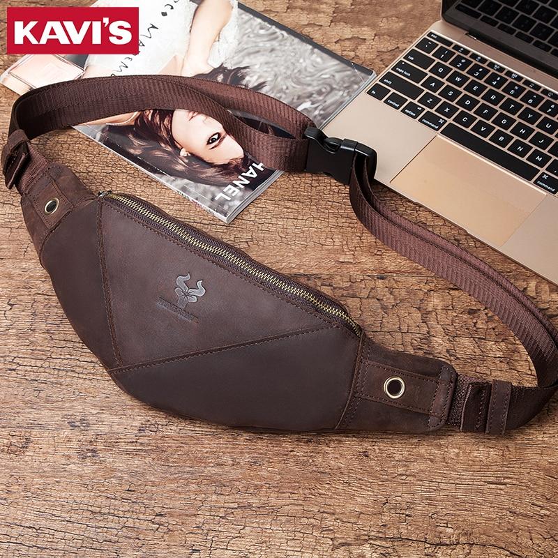 KAVIS 100% Genuine Leather Men Bag Belt Waist Bag Male Packs Crossbody Chest Fanny Pack Holder Pouch Purse Messenger Fashion