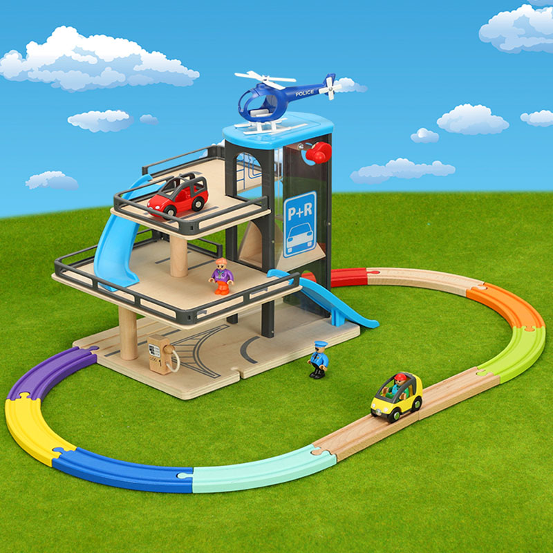 Wooden Railway Car Track Lifts Wooden Track Parking Compatible With Brio Wooden Train Track Children's Inertial Hand Sliding Toy