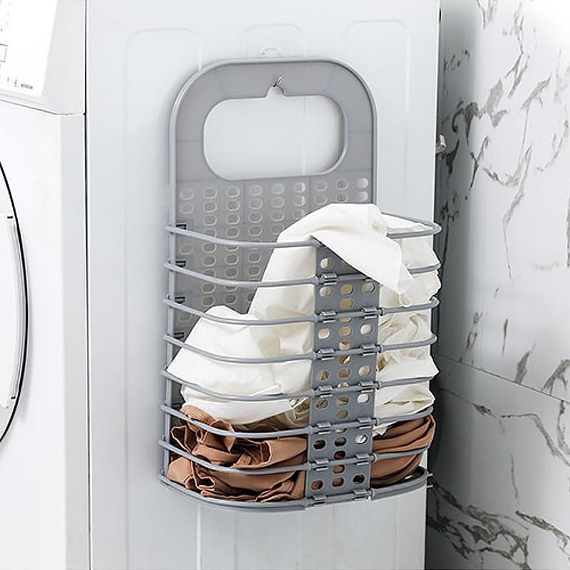 Foldable Dirty Clothes Basket Wall Hanging Laundry Basket Household Laundry Clothes Storage Basket Punching Laundry JJJSN11351