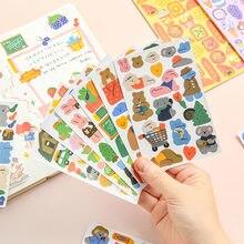 1 arkusz Cartoon naklejka ze zwierzętami DIY samoprzylepna etykieta dekoracja do pamiętnika Kawaii naklejki notatnik koreański śliczne artykuły papiernicze