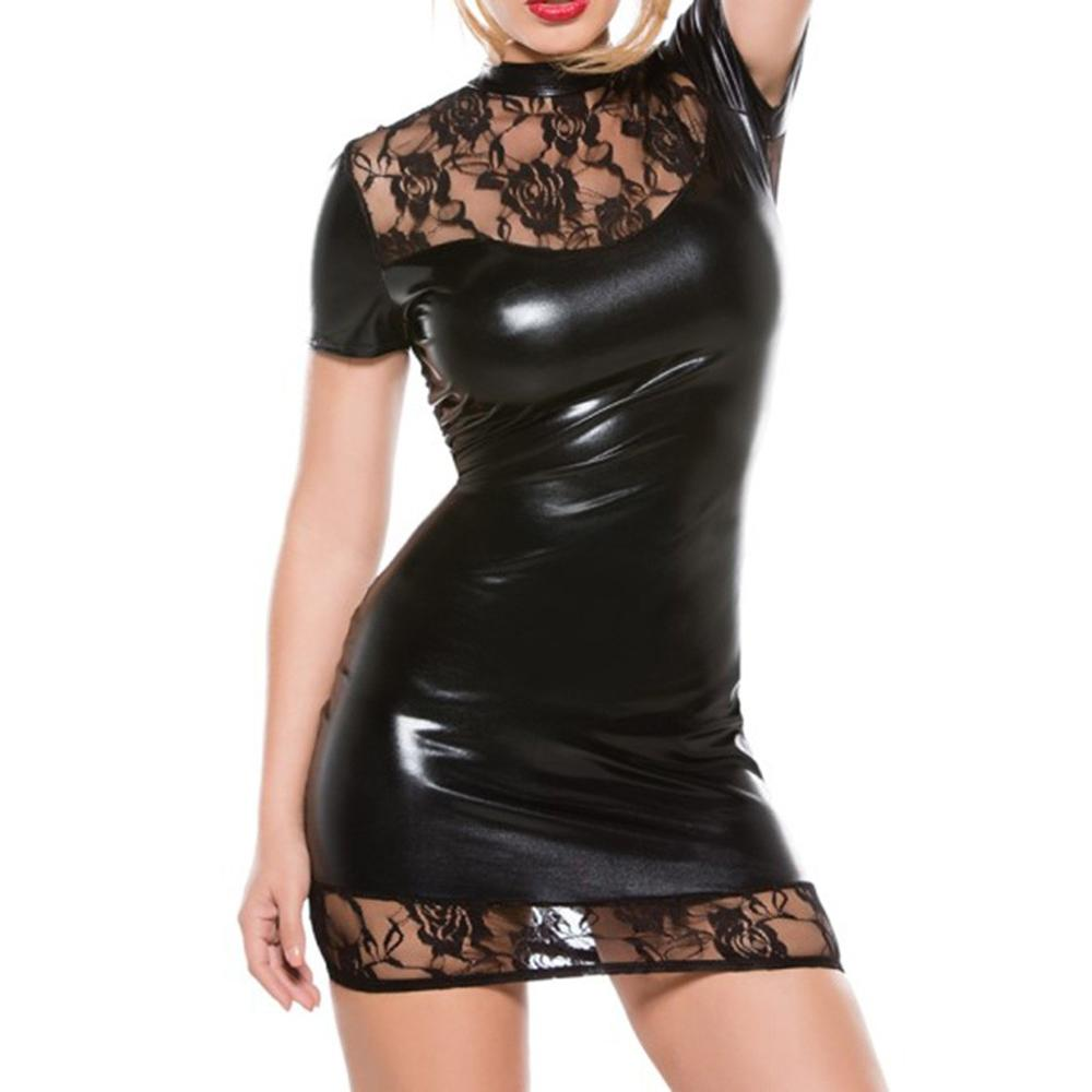 <font><b>Sexy</b></font> Erotica <font><b>Leather</b></font> <font><b>Dress</b></font> Women Solid Color Tight Hollow See Through Babydoll <font><b>Black</b></font> Clubwear Vestido Couro 2019 New Hot Sale E image