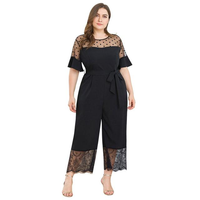 2019 Fashion Casual Solid Jumpsuit Women's Plus Size Short-Sleeved Mesh Stitching Lace Wide Leg One-piece Pants Mameluco Mujer Y 5