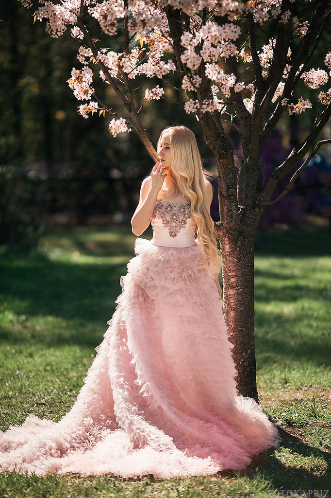 Strapless Pink Long Evening Gown Flower Tiered Ruffles Party Photography Studio Robe De Soiree 2018 Mother Of The Bride Dresses