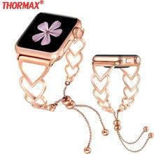 Hartvormige Armband Strap Voor Apple Horloge 38Mm 40Mm 42Mm 44Mm Armband Vrouwen Rvs strap Iwatch Bands Serie 5 4 3 2