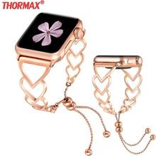 W kształcie serca bransoletka pasek do zegarka Apple Watch 38mm 40mm 42mm 44mm bransoletka kobiety ze stalowy pasek zespoły iwatch serii 5 4 3 2