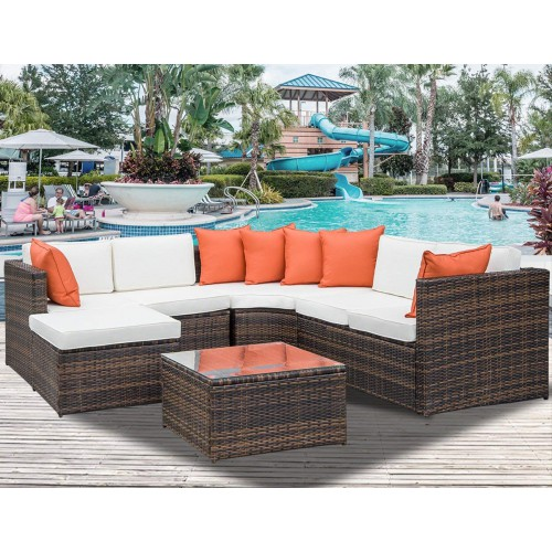 5-Piece Patio Furniture Sofa Set Wicker Chair For Outdoor Yard Swimming Pool Beach Garden Furniture Outdoor Rattan Sofa Set