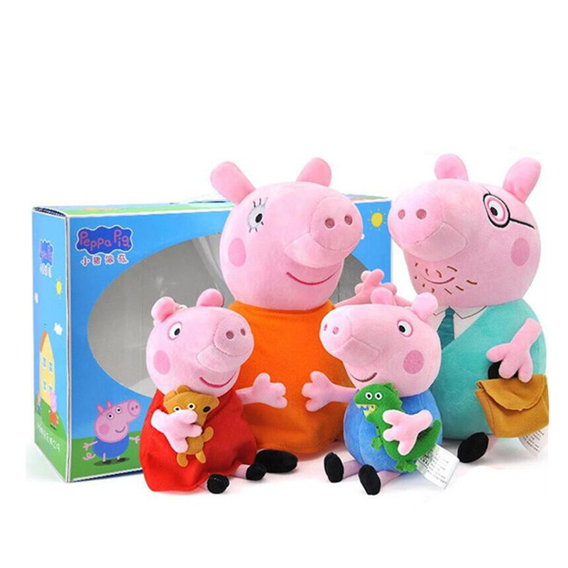 Original 19-30cm 4 Pieces / Set Peppa Pig Toy George Cartoon Plush Doll Family Pack Toy Friends Party Child Birthday Gift