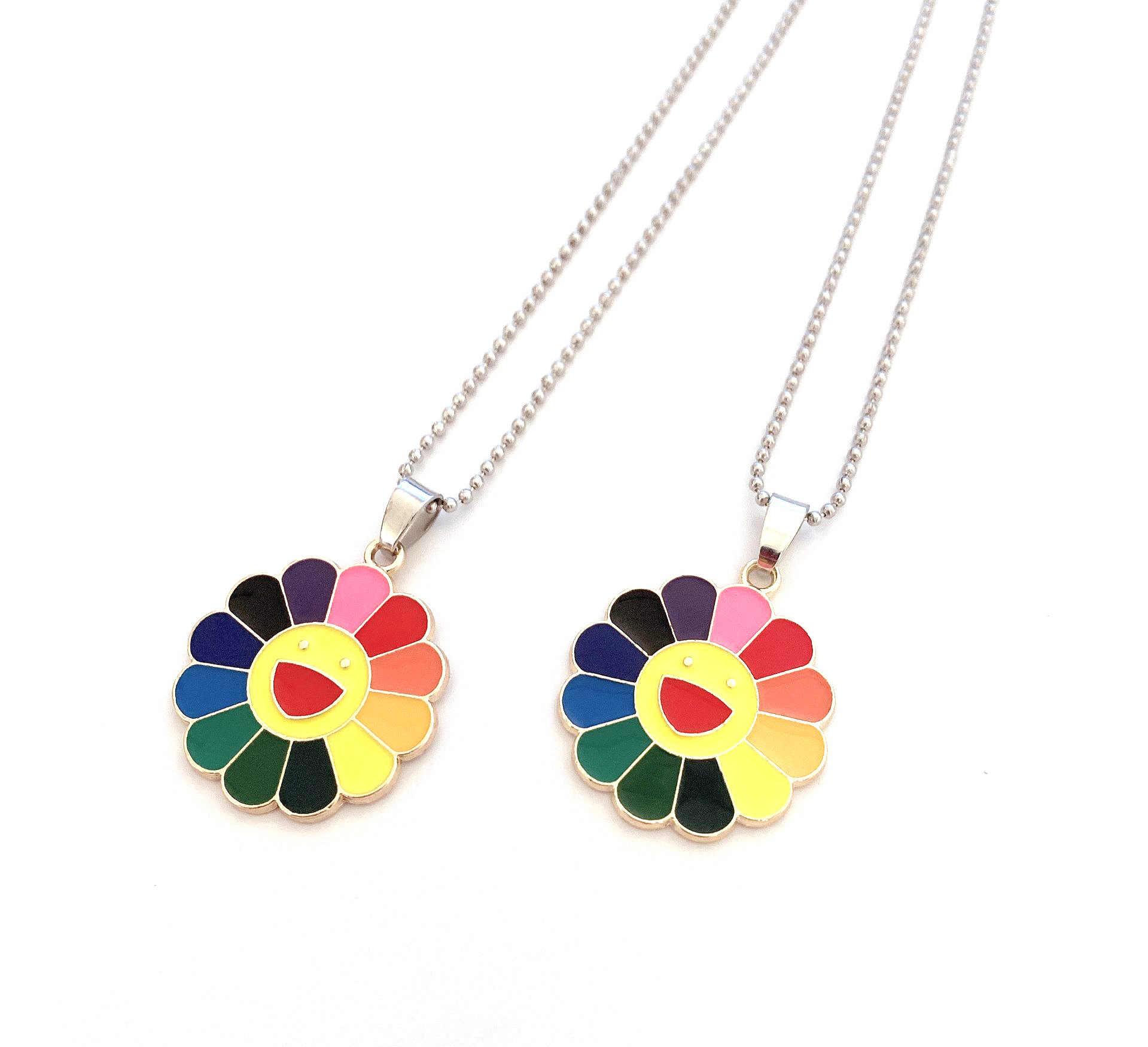 1Pcs Mode Legierung Klassische Anhänger Halskette Murakami Sonne Blume Sonnenblume Bunte Blütenblätter Smiley Können Gedreht Werden Dropshipping