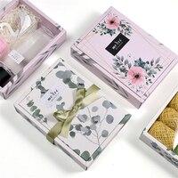 50PCS Elegant Flower Kraft paper Box Cardboard handmade candy soap box craft paper gift box packaging jewelry box Storage Box