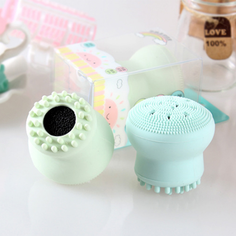 1pc Silicone Face Cleansing Brush Facial Cleanser Pore Cleaner Exfoliator Face Scrub Washing Brush Skin Care Small Octopus Shape