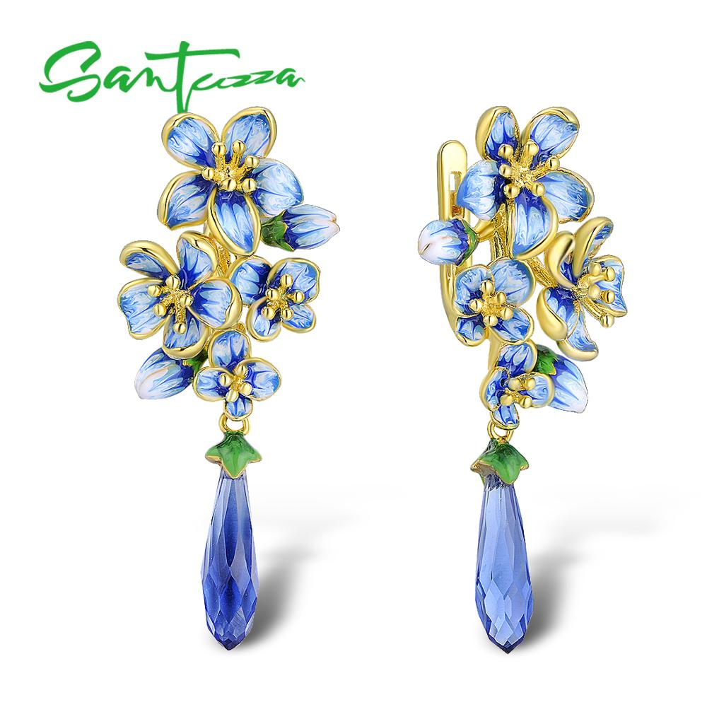SANTUZZA Silver Earrings For Women  925 Sterling Silver Gold Color Exquisite Flowers Drop Earrings Fine Jewelry Handmade Enamel